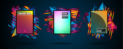 Futuristic Frame Art Design with Abstract shapes and drops of colors behind the space for text. Modern Artistic flyer or party tha. I background Stock Images