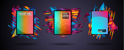Futuristic Frame Art Design with Abstract shapes and drops of colors behind the space for text. Modern Artistic flyer or party tha. I background Royalty Free Stock Photography