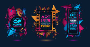 Futuristic Frame Art Design with Abstract shapes and drops of colors Stock Images
