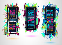 Futuristic Frame Art Design with Abstract shapes and drops of colors Royalty Free Stock Image