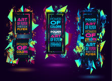 Futuristic Frame Art Design with Abstract shapes and drops of colors Royalty Free Stock Photo