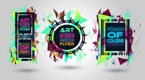 Futuristic Frame Art Design with Abstract shapes and drops of colors. Behind the space for text. Modern Artistic flyer or party thai background Stock Images