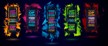 Futuristic Frame Art Design with Abstract shapes and drops of colors behind the space. For text. Modern Artistic flyer or party thai background Stock Photo