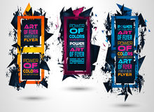 Futuristic Frame Art Design with Abstract shapes and drops of colors behind the space. For text. Modern Artistic flyer or party thai background royalty free illustration
