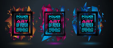 Futuristic Frame Art Design with Abstract shapes and drops of colors behind. The space for text. Modern Artistic flyer or party thai background royalty free illustration