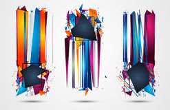 Futuristic Frame Art Design with Abstract shapes and drops of colors behind Stock Image