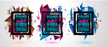 Futuristic Frame Art Design with Abstract shapes and drops of colors behind Royalty Free Stock Photos