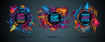 Futuristic Frame Art Design with Abstract shapes and drops of colors behind Stock Photos