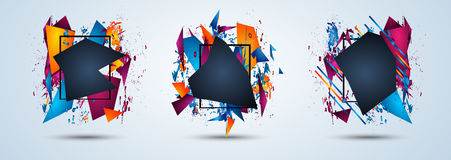 Futuristic Frame Art Design with Abstract shapes and drops of colors behind Royalty Free Stock Photo