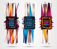 Futuristic Frame Art Design with Abstract shapes and drops of colors behind Stock Photo