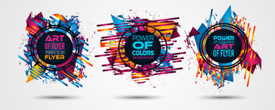 Futuristic Frame Art Design with Abstract shapes and drops of colors behind. The space for text. Modern Artistic flyer or party thai background Royalty Free Stock Images