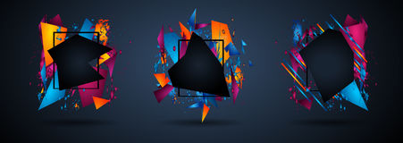 Futuristic Frame Art Design with Abstract shapes and drops of colors behind. The space for text. Modern Artistic flyer or party thai background Royalty Free Stock Photo