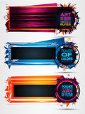Futuristic Frame Art Design with Abstract shapes and drops of colors behind. The space for text. Modern Artistic flyer or party thai background Stock Image