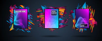 Futuristic Frame Art Design with Abstract shapes and drops of colors behind. The space for text. Modern Artistic flyer or party thai background Stock Photography