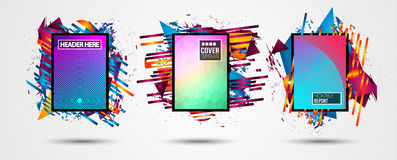 Futuristic Frame Art Design with Abstract shapes and drops of colors behind. The space for text. Modern Artistic flyer or party thai background Stock Photo