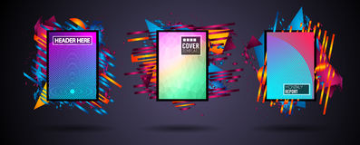 Futuristic Frame Art Design with Abstract shapes and drops of colors behind. The space for text. Modern Artistic flyer or party thai background Stock Images