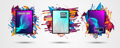 Futuristic Frame Art Design with Abstract shapes and drops of colors behind. The space for text. Modern Artistic flyer or party thai background Royalty Free Stock Image