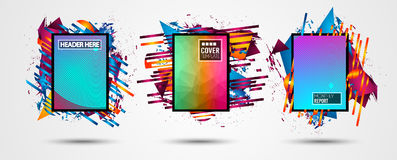 Futuristic Frame Art Design with Abstract shapes and drops of colors behind. The space for text. Modern Artistic flyer or party thai background Royalty Free Stock Photos