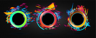 Futuristic Frame Art Design with Abstract shapes and drops of co. Lors behind the space for text. Modern Artistic flyer or party thai background Royalty Free Stock Image