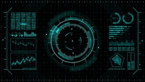 Futuristic game target. Aiming and military. Aim of sniper weapon. Neon digital display. Future radar screen. Technology concept.