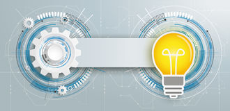 Futuristic Gear Construction Bulb Circuit Board Banner Stock Photos