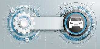 Futuristic Gear Construction Car Circuit Board Banner Stock Image