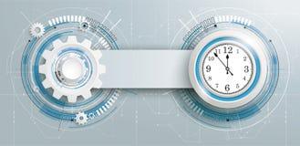 Futuristic Gear Construction Clock Circuit Board Banner Stock Photos