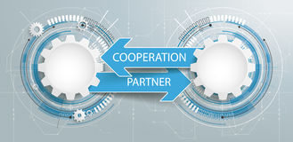 Futuristic 2 Gears Circuit Board Partner Cooperation. Gears with text Partner Cooperation Royalty Free Stock Photography