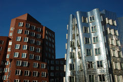 Futuristic gehry buildings. In duesseldorf, germany Royalty Free Stock Image