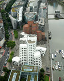 Futuristic gehry buildings. View on Media Harbour in Dusseldorf from TV tower Stock Photos