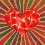 Futuristic geometric heart on grunge background. Royalty Free Stock Photos