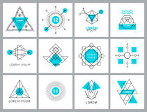 Futuristic Geometric Hipster Elements and Logos Stock Photography