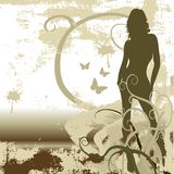 Futuristic girl background. Grunge futuristic girl, floral ornaments, vector Royalty Free Stock Photos