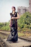 Futuristic girl in black PVC dress Royalty Free Stock Photo