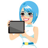 Futuristic Girl Displaying Tablet Stock Photo