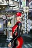 Futuristic girl in future city. 3D render science fiction illustration Stock Image