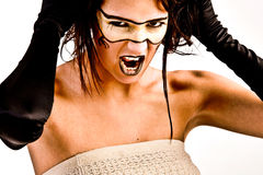 Futuristic girl screaming. Agressive futuristic girl screaming out loud royalty free stock images