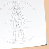 Futuristic Girl Sketch Royalty Free Stock Photos