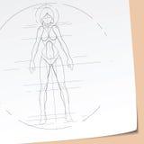 Futuristic Girl Sketch Royalty Free Stock Photos