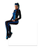 Futuristic girl in skin-tight coverall Stock Photos
