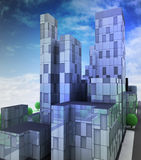 Futuristic glass blue city with office building in sky Royalty Free Stock Images