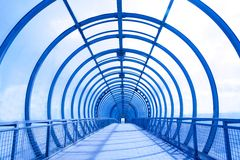 Futuristic glass corridor Royalty Free Stock Photo