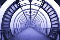 Futuristic glass corridor Royalty Free Stock Images