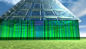 Futuristic glass house. In the dessert Royalty Free Stock Photography