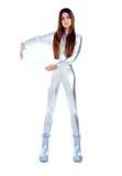 futuristic glass kvinna för hjälmholdingsilver Arkivbilder