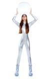 futuristic glass kvinna för hjälmholdingsilver Royaltyfri Fotografi