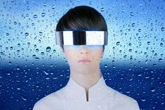 Futuristic glasses woman behind dropsoing glass Royalty Free Stock Photos