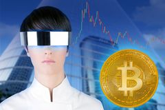 Futuristic glasses woman Bitcoin BTC trader. City downtown mirror skyscraper buildings stock images