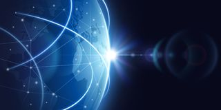 Futuristic global internet network background. Worldwide globalization vector concept. Futuristic connect world digital, globe network communication Royalty Free Stock Photo