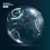 Futuristic Globalization Interface. Earth Science Technology Abstract Background. Vector Illustration Royalty Free Stock Photography